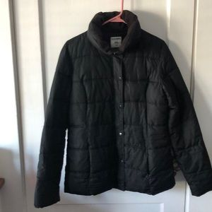 Black puffer coat from Old Navy.